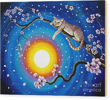 Flame Point Siamese Cat In Cherry Blossoms Wood Print by Laura Iverson