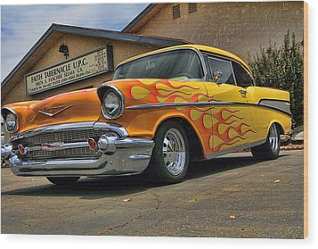 Flamed 57 Chevy Wood Print by Fred Wilson