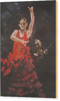 Flamenco Dancer Wood Print by Paul Mitchell