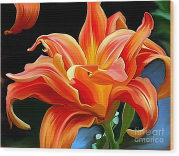 Flaming Flower Wood Print by Patricia Griffin Brett