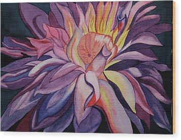 Flaming Flower Wood Print by Teresa Beyer
