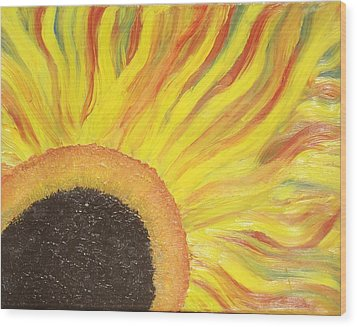Wood Print featuring the painting Flaming Sunflower by Margaret Harmon
