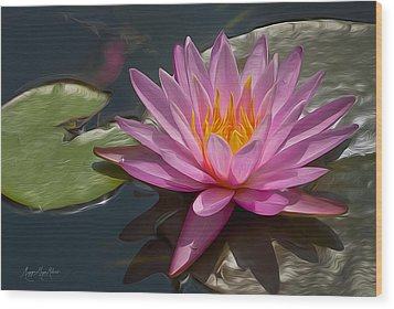 Flaming Waterlily Wood Print