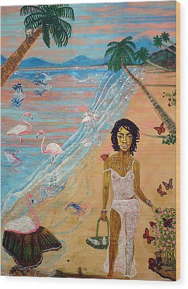 Flamingo Hills Wood Print