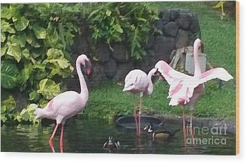 Flamingo Party Wood Print by Silvie Kendall