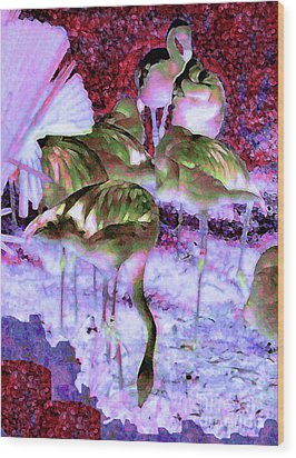 Wood Print featuring the painting Flamingotasia by Elinor Mavor