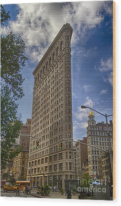 Wood Print featuring the photograph Flatiron Building - Color by Vicki DeVico