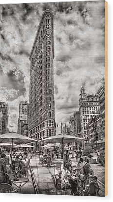 Wood Print featuring the photograph Flatiron Building Hdr by Steve Zimic