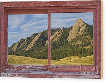 Flatirons Boulder Colorado Red Barn Picture Window Frame Photos  Wood Print by James BO  Insogna
