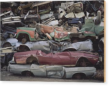 Flattened Car Bodies Wood Print by Dirk Wiersma
