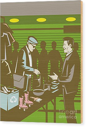 Flea Market Selling Trading Retro Wood Print by Aloysius Patrimonio