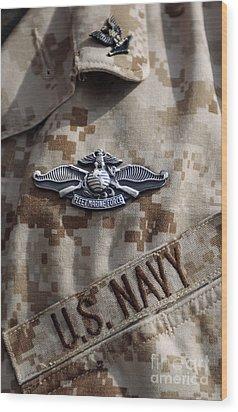 Fleet Marine Force Warfare Device Pin Wood Print by Stocktrek Images