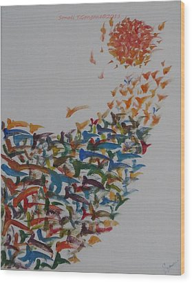 Wood Print featuring the painting Fleet Of Birds by Sonali Gangane