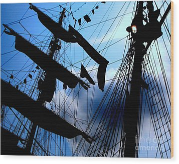 Fleet Week - Masts Wood Print by Maria Scarfone