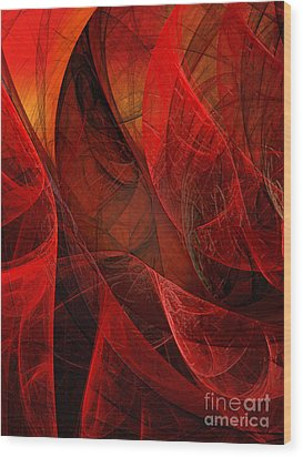 Flickering Flaming Fractal 2 Wood Print by Andee Design