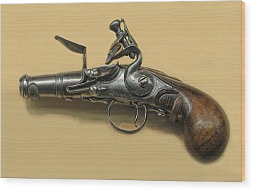 Flintlock Pistol Wood Print by Dave Mills