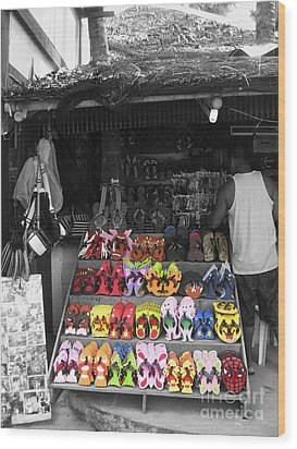 Wood Print featuring the photograph Flip Flops Anyone by Victoria Lakes
