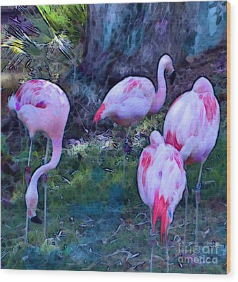 Wood Print featuring the painting Flippin' Flamingoes by Elinor Mavor