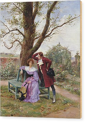 Flirtation Wood Print by Georges Jules Auguste Cain