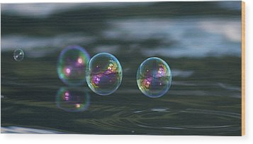 Wood Print featuring the photograph Floating Bubbles by Cathie Douglas