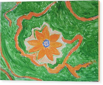 Wood Print featuring the painting Floating Flower by Sonali Gangane