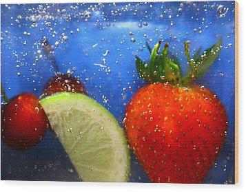 Floating Fruit Wood Print by Paula Brown