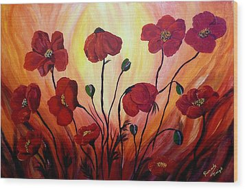Floating Poppies Wood Print