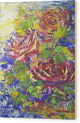 Wood Print featuring the painting Floating Roses by Kathleen Pio