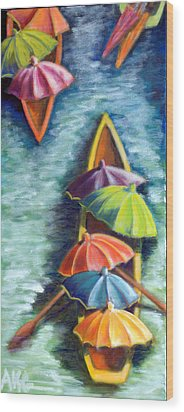 Wood Print featuring the painting Floating Umbrellas by AnneKarin Glass
