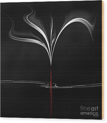 Wood Print featuring the digital art Floating With Red Flow 4 by Johnny Hildingsson
