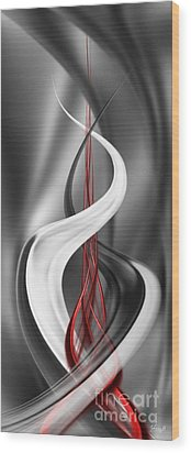 Wood Print featuring the digital art Floating With Red Flow 7 by Johnny Hildingsson