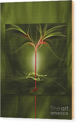 Floating With Red Flow 9 Green Wood Print