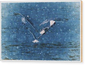 Flock  Wood Print by Debra  Miller