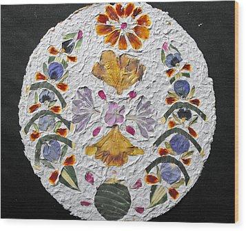 Floral Collage On Handmade Paper No. 2031 Wood Print by Mircea Veleanu