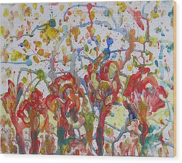 Wood Print featuring the painting Floral Feel by Sonali Gangane