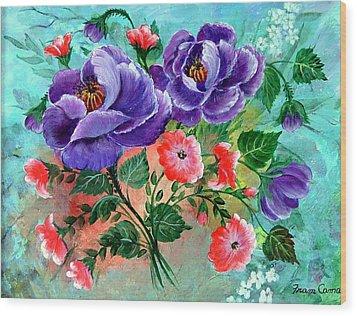Floral Frenzy Wood Print by Fram Cama