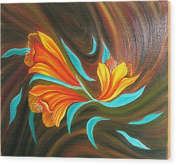 Floral Friendship-abstract Painting Wood Print by Rejeena Niaz