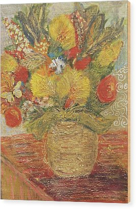 Floral In Vase With A Bow Wood Print by Anne-Elizabeth Whiteway