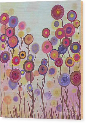 Wood Print featuring the painting Floral Jewels by Stacey Zimmerman