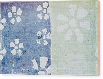 Floral Pattern On Old Grunge Paper Wood Print by Setsiri Silapasuwanchai
