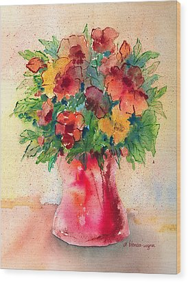 Floral Still Life Wood Print by Arline Wagner