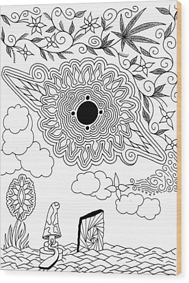 Floral Sun Wood Print by Andrew Padula