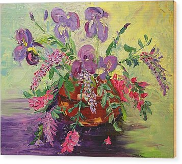 Wood Print featuring the painting Floral With Knives by Carol Berning