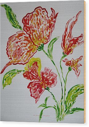 Wood Print featuring the painting Florals by Sonali Gangane