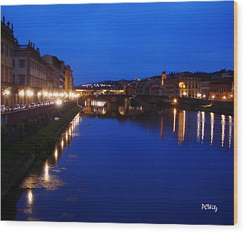 Florence Arno River Night Wood Print by Patrick Witz