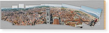 Florence Italy - Panorama -01 Wood Print by Gregory Dyer