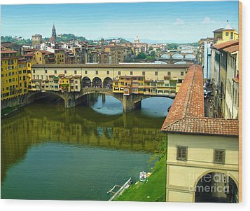 Florence Italy - Ponte Vecchio From The Uffizzi Wood Print by Gregory Dyer