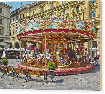 Florence Italy Carousel - 02 Wood Print by Gregory Dyer