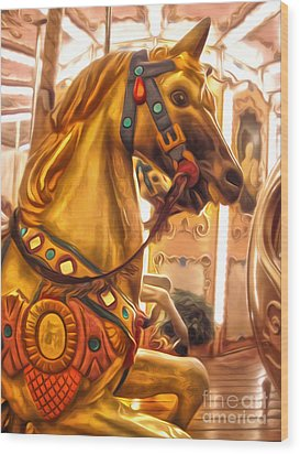 Florence Italy Carousel- 01 Wood Print by Gregory Dyer