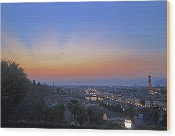 Florence Sunset Wood Print by La Dolce Vita